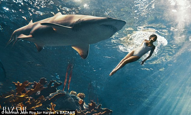 Rihanna Poses With the Great White Sharks for Harper's Bizaar Magazine