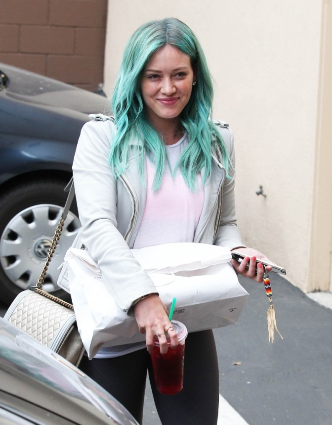 Hilary Duff Goes Blue…Literally.